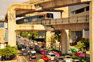 Futuristic: The SkyTrain is a great way to zip around town and avoid the traffic