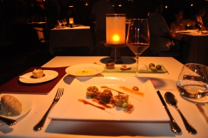 Outdoor dining at Mozaic: Wagyu beef cheeks with oxtail tortellini and rendang spices
