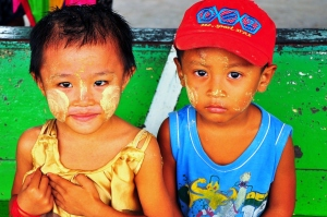Cheeky: Burmese children with thanaka on their faces