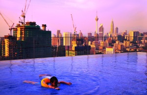 KL skyline from the pool at Aloft