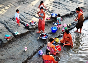 All-purpose river: Bathers on the banks of the Ayeyarwady